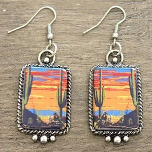 Desert Sky Cactus Portrait Earrings
